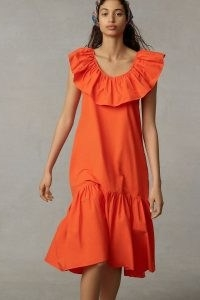 WHIT TWO Flouncy Ruffled Maxi Dress in Red – bright ruffle neck tiered hem summer dresses