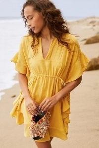 Anthropologie Marina Ruffled Cover-Up Mini Dress in Canary – yellow poolside cover ups – women's beachwear
