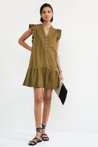Pilcro Flounced Tunic Dress – flutter sleeve tiered hem summer dresses