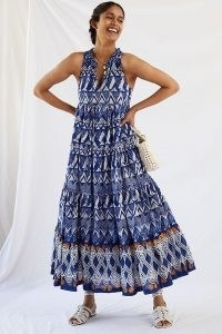Anthropologie Diaz Tiered Abstract Maxi Dress in Blue Motif