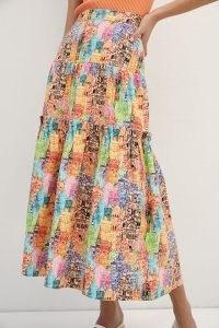 Eva Franco Villa Tiered Maxi Skirt – printed summer skirts