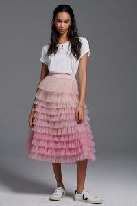 Geisha Designs Tiered Ombre Tulle Midi Skirt in Pink – frothy ballet style skirts