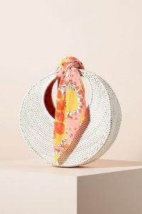 Vera Sigrid Scarf-Trimmed Clutch – white woven rattan bags – summer circular handbag