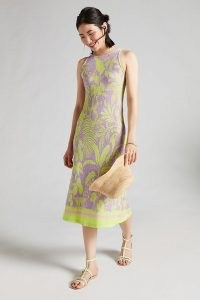 Farm Rio Knit Midi Dress Purple Motif