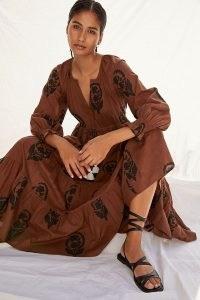Omika Tiered Maxi Dress Brown Motif ~ boho summer dresses