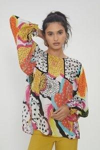 Bl-nk Miranda Peasant Blouse – bold multi print blouses
