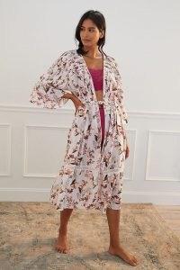 Anthropologie Ruffled Floral Robe – women's open front tie waist robes