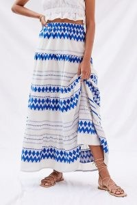 Kasia Resort Tiered Geo Maxi Skirt – long blue and white printed summer skirts