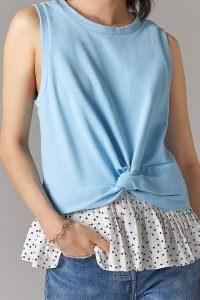 Lea & Viola Ruffled Peplum Top | blue sleeveless tee with frill hem