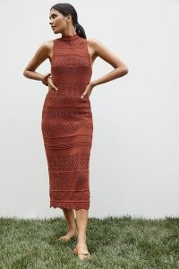 Anthropologie Crochet Midi Dress Dark Orange | chic knitted dresses | summer occasion knitwear