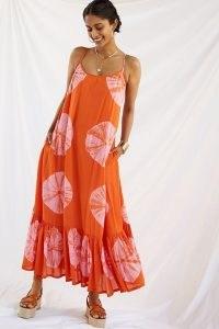 NORBLACK NORWHITE Tie-Dye Maxi Dress Orange Motif