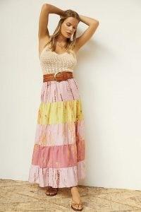 Kavita Bhartia Tiered Tie-Dye Maxi Skirt / long boho summer skirts