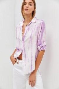 Cloth & Stone Frayed Buttondown / women's purple tie dye shirts