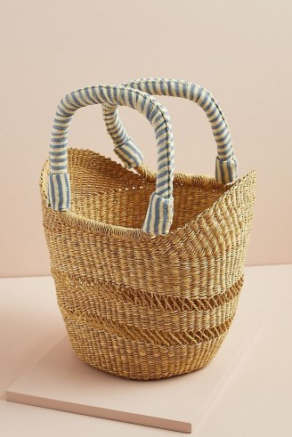 Indego Africa Bolga Tote Bag / chic woven elephant grass basket / summer bags - flipped