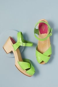 Swedish Hasbeens Mirja Heeled Clog Sandals Lime / women's bright green chunky retro platforms / croc effect cloggs