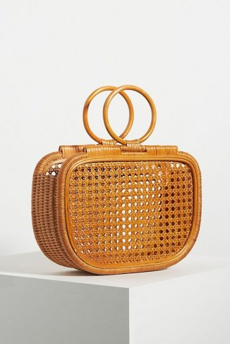 ANTHROPOLOGIE Ubud Woven Clutch / rattan round top handle bag - flipped