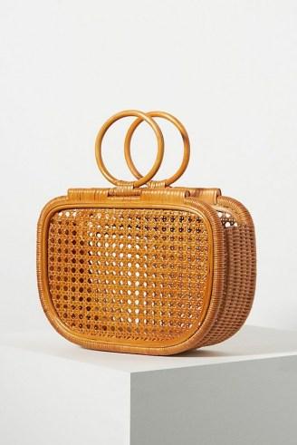 ANTHROPOLOGIE Ubud Woven Clutch / rattan round top handle bag
