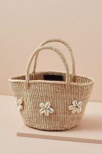 Indego Africa Cowrie Flower Banana Bag / shell embellished woven banana leaf basket / floral summer bags / shells