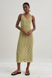 Anthropologie Pointelle Knitted Midi Dress Guacamole | chic knitwear | green crochet knit dresses