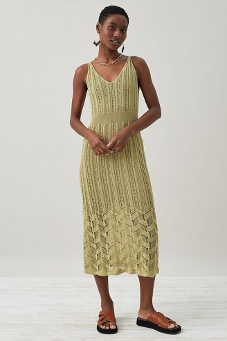 Anthropologie Pointelle Knitted Midi Dress Guacamole   chic knitwear   green crochet knit dresses - flipped