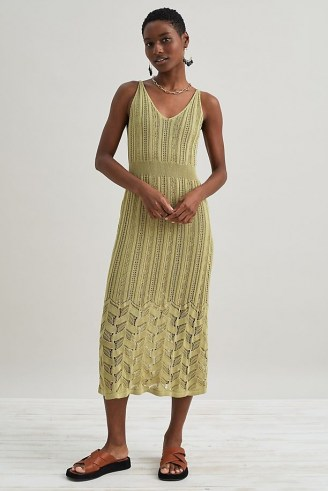 Anthropologie Pointelle Knitted Midi Dress Guacamole   chic knitwear   green crochet knit dresses