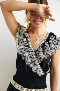 ANTHROPOLOGIE Embroidered Lace Blouse Black