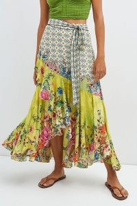 Bhanuni by Jyoti Floral Contrast Maxi Skirt in Yellow / women's floaty summer skirts