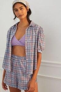 ANTHROPOLOGIE Embroidered Plaid Pyjama Set / women's checked pyjamas / nightwear shirt and shorts sets