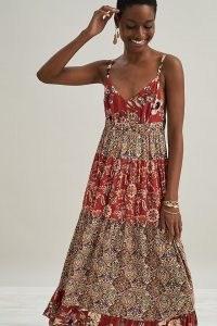 Kachel Lula Tiered Midi Dress / red floral mixed print dresses