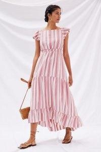 Anthropologie Striped Maxi Dress Red Motif   flutter sleeve open cross back summer dresses