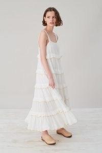 Selected Femme Duffy Midi Dress   floaty feminine tiered white organic cotton summer dresses