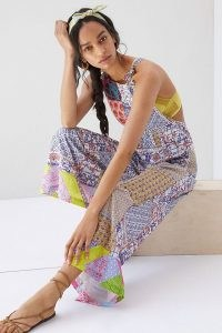 Let Me Be Patchwork Overalls   womens cotton mixed print dungarees   casual summer fashion