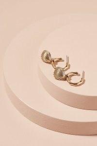 Atteya Cardita Hoop Earrings / sea inspired shell charm hoops