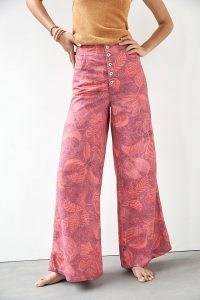 Pilcro Capital A Flare Jeans Raspberry | womens pink printed denim flares | women's clothing at Anthropologie