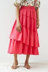 Maeve Tiered Asymmetrical Maxi Skirt | womens pink summer skirts | women's clothing at Anthropologie