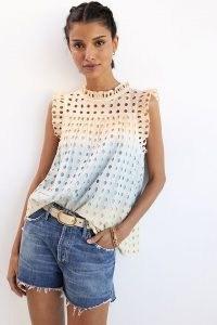 Ollari Ruffled Eyelet Tank | women's cotton ruffle trim tops | womens sleeveless open back summer top | Anthropologie clothing