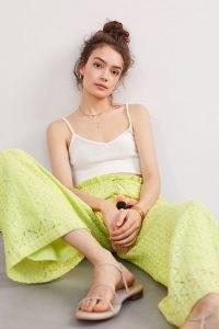 Ollari Lacy Wide-Leg Trousers Chartreuse | womens yellow green summer pants | Anthropologie summer clothing | women's tasseled drawstring waist trouser