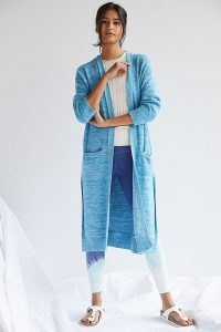 Daily Practice by Anthropologie Knit Duster Cardigan Turquoise | women's blue longline open front cardigans | anthropologie knitwear