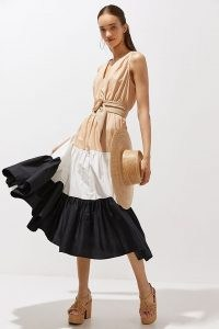 Maeve Tiered Maxi Dress Neutral Motif / womens cotton summer dresses / women's colour block fashion