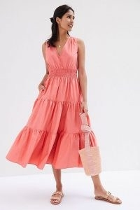Maeve Tiered Maxi Dress in Rose / sleeveless cotton summer dresses