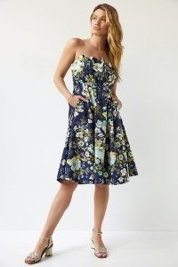 ANTHROPOLOGIE Ruffled Floral Mini Dress Navy / strapless floral flared dresses