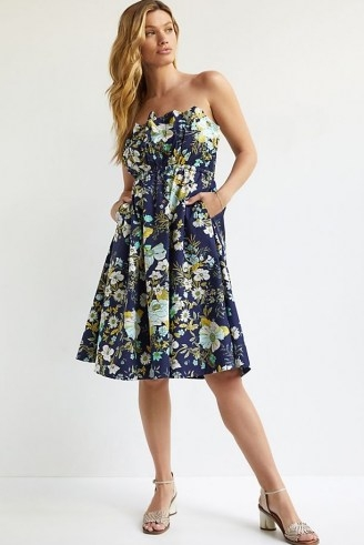ANTHROPOLOGIE Ruffled Floral Mini Dress Navy / strapless floral flared dresses - flipped
