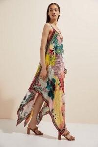Bhanuni by Jyoti Floral Contrast Maxi Dress / flowing handkerchief hem dresses / mixed prints