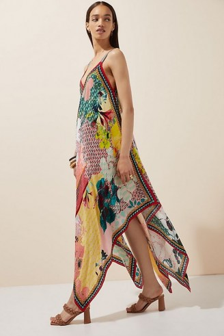 Bhanuni by Jyoti Floral Contrast Maxi Dress / flowing handkerchief hem dresses / mixed prints - flipped