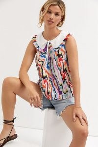 Maeve Abstract-Print Pintucked Blouse – womens printed oversized collar blouses