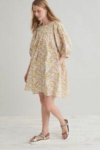 Anthropologie x Meadows Crocus Mini Dress   womens floral vintage style dresses   women's retro summer fashion   organic cotton clothing