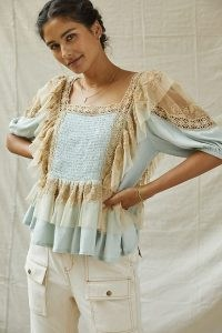 Forever That Girl Ruffled Lace Peplum Top | womens feminine vintage style tops | women's tiered blouses