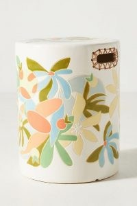 Maggie Stephenson Botanical Blooms Ceramic Stool ~ hand-glazed earthenware house plant stands and tables ~ anthropologie home accessories