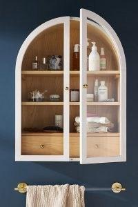 ANTHROPOLOGIE Fern Bath Cabinet ~ large white glass door bathroom cabinets ~ chic home furniture ~ stylish homeware accessories