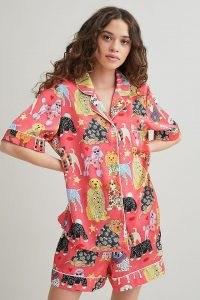 Karen Mabon Dogs Pyjama Shorts Set Red / cute animal print pyjamas / dogs / womens nightwear